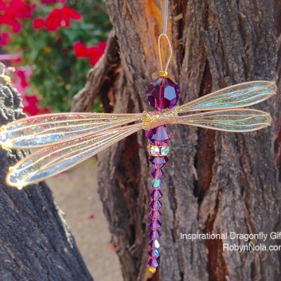 Purple Swarovski Crystal Dragonfly Suncatcher