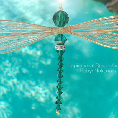 Beautiful Emerald Green Dragonfly Sun Catcher