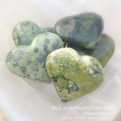 Inca Jade Hearts from Peru
