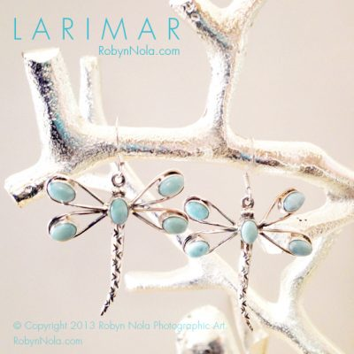 Larimar Dragonfly Earrings-Beautiful Larimar Gifts