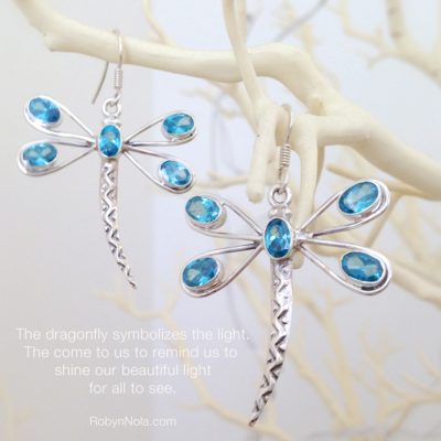 beautiful dragonfly jewelry-blue topaz earrings