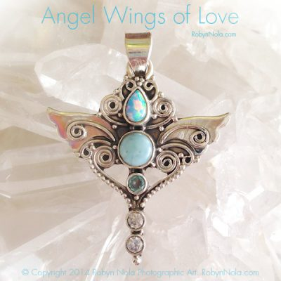 Angel Wings and Larimar Pendant