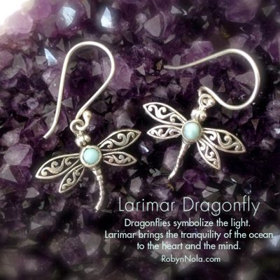 Inspirational Dragonfly Gifts-Larimar Dragonfly Earrings
