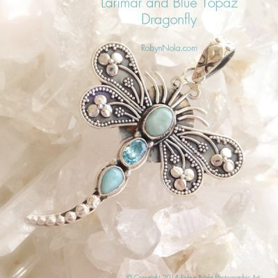 Larimar and blue topaz dragonfly pendant