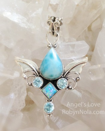 Angel's Love Larimar Angel wing pendant