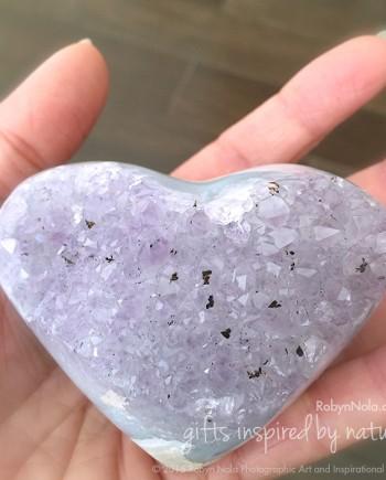 lavendar amethyst agate geode heart