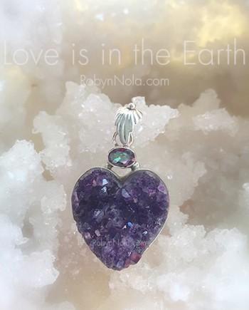 Amethyst Crystal Druzy Heart Pendant