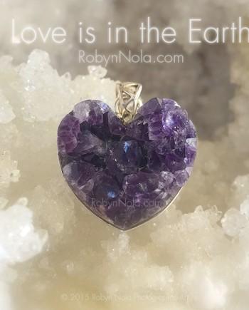 Amethyst Crystal Geode Heart Pendant