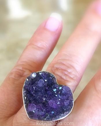 Amethyst Druzy Crystal Heart