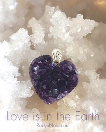 Amethyst Druzy Crystal Heart Pendant