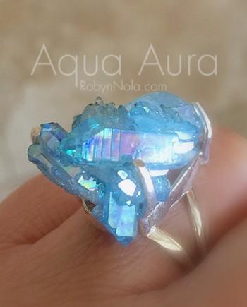 Aqua Aura Crystal Cluster Ring
