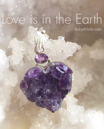 Beautiful Amethyst Crystal Heart Pendant