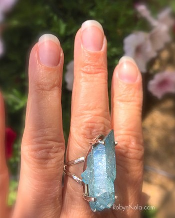 Beautiful Aqua Aura Quartz Crystal Ring
