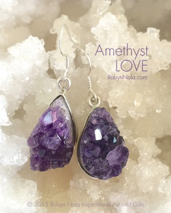 Beautiful Amethyst Crystal Geode Earrings