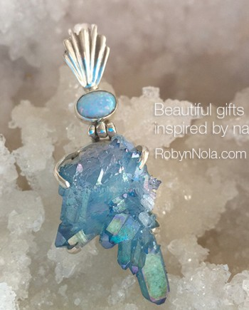 Beautiful Aqua Aura Pendant