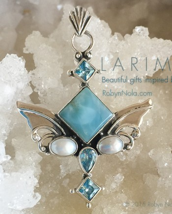 Larimar Angel Wings pendant