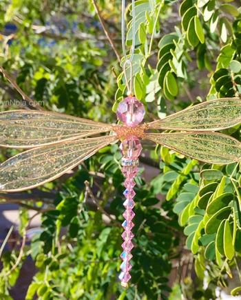Rose Quartz Swarovski Dragonfly Suncatcher