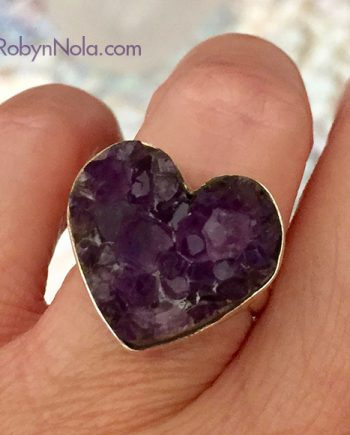 beautiful amethyst crystal heart ring
